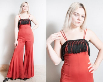 Vintage 1970's | Orange and Black | Fringe | Bell Bottom | Jumpsuit | Super Wide Leg Pants | XS