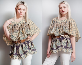 Vintage 1970's | OS | Ethnic | Boho | Top | Elephant | Animal | Motif | L/XL or Oversized