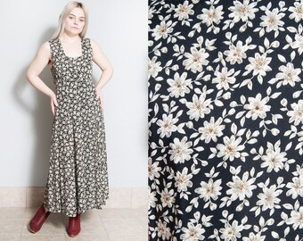 Vintage 1990's | Black | Floral | Long | Grunge | Dress | M