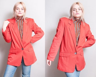 Vintage 1990's | Orange | Oversized | Lightweight | Long | Blazer | OS or S/M