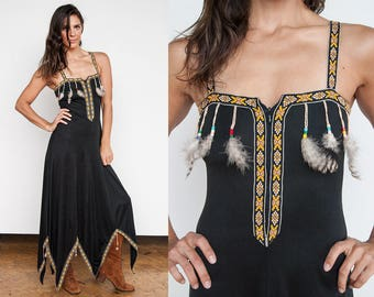 Vintage 1970's I AMAZING & RARE I Black  I Boho I Ethnic I Feathers I Beads I Festival I Maxi I Dress I XS/S