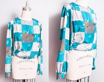 Vintage 1980's | Printed | Graphic | Colorful | Pullover | Blouse | Top | M/L