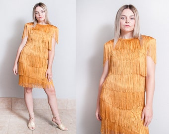 Vintage 1970's | Gold | Fringe | Flapper | Disco | Dress | S