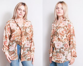 Vintage 1990's | Floral | Sheer | Button Down | Blouse | Top | Oversized or SML