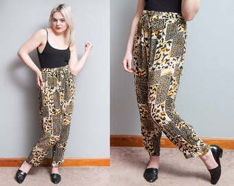 Vintage 1980's/1990's | Animal Print | Safari | Harem | Pants | M/L or Oversized
