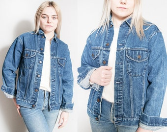 Vintage 1980's/1990's | GAP | Medium Wash | Distressed | Fitted | Denim | Jean | Jacket | S