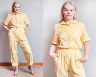 Vintage 1980's   Yellow   Cotton   Jumpsuit   Coveralls   Jumper   Playsuit   S