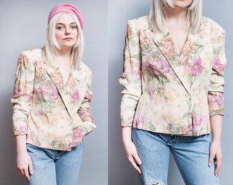 Vintage 1980's/1990's | Italian Designer | BYBLOS | Double Breasted | Floral | Lightweight | Blazer | SM