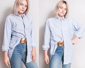 Vintage 1990's | RALPH LAUREN | Blue | Pinstriped | Unisex | Menswear | Button Down | Shirt | Top | Oversized or SML