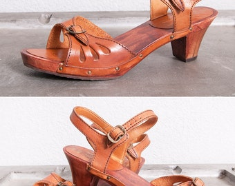 Vintage 1970's | Brown | Leather | Wood | Platform | Sandals | Size 6