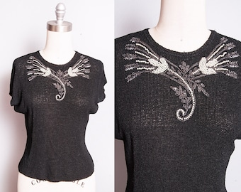 Vintage 1950's | Black | Beaded | Embellished | Lightweight | Knit | Top | XS/S
