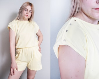 Vintage 1980's | Yellow | Romper | Shorts | Playsuit | Jumpsuit | S