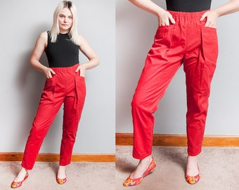 Vintage 1980's | Red | P.S. Gitano | High Waist | Cotton Blend | High Rise | Ankle | Tapered | Pants | M