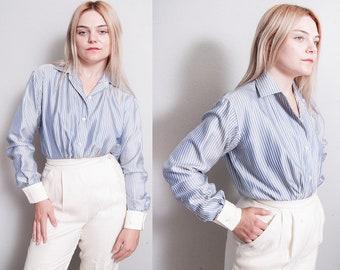 Vintage 1990's | DONNA KARAN | Pinstriped | Button Down | Bodysuit Blouse | S