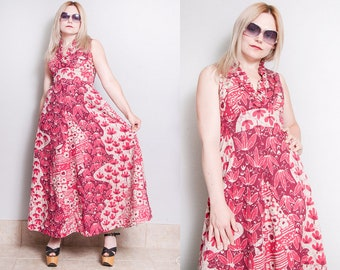 Vintage 1970's | Beautiful | Floral | Cotton | Hawaiian | Maxi | Dress | XS/S