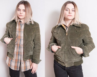 Vintage 1970's | Green | Corduroy | Faux Fur Lined | Bomber | Jacket | Unisex | S