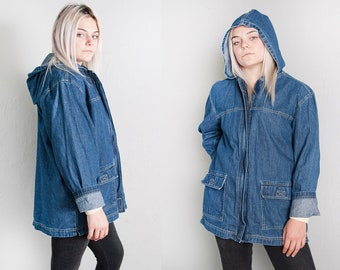 Vintage 1990's | Bill Blass | Denim | Medium Wash | Hooded | Jean | Jacket | Coat | SML