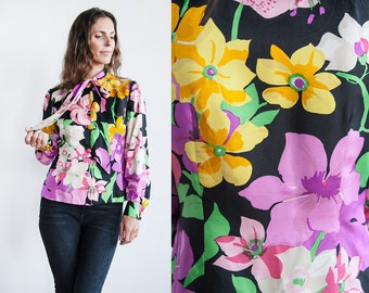 Vintage 1970's | Bright | Floral | Silk | Ascot Collar | Blouse | S