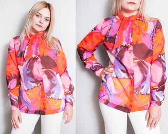 Vintage 1970's | Colorful | Ascot | Collar | Psychedelic | Blouse | S/M