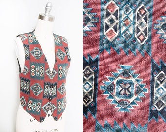 Vintage 1980s's/1990's | Southwestern | Tapestry | Vest | S