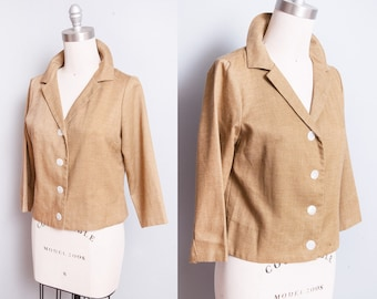 Vintage 1960's | Linen | Blazer | Transitional | Spring | Jacket | 3/4 Sleeves | M
