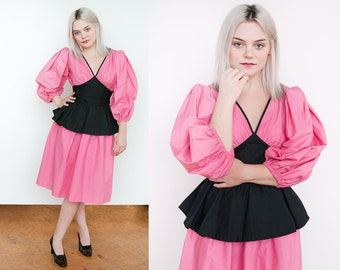 Vintage 1980's | Pink & Black | Yves Saint Laurent | Rive Gauche | Fit and Flare | Peplum | Puff Sleeve | Dress | XS/S