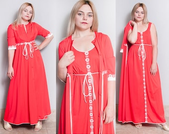 Vintage 1970's | Red | 2 Piece | Lingerie | Loungewear Set | Robe & Nightgown | S