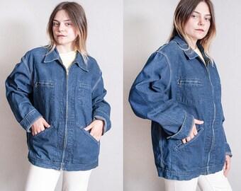 Vintage 1980's   OSH GOSH   Workwear   Oversized   Denim   Choir   Jean   Unisex   Jacket   L or Oversized