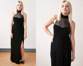 Vintage 1990's | Black | Stretch Velvet | Sheer Mesh | Body Con | Formal | Maxi Dress | S