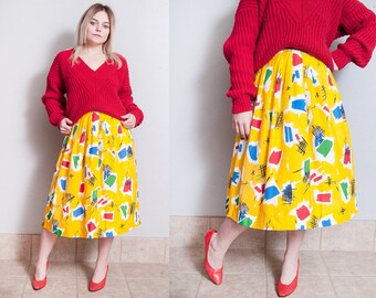 Vintage 1980's | Yellow | New Wave | Abstract Pattern | Skirt | XS/S