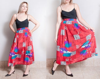 Vintage 1980's | Red | Printed | Patterned | Long | Skirt | S