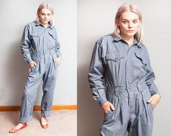 Vintage 1980's/1990's   Blue   Pinstripe   Cotton   Jumpsuit   Coveralls   Jumper   Playsuit   M