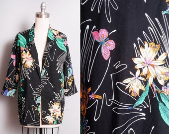 Vintage 1980's | Black | Floral | Butterfly | 100% Cotton | Lightweight | Tropical | Blazer | M