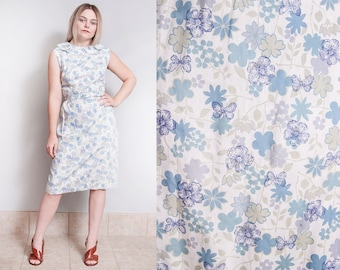Vintage 1950's | Floral & Butterfly | Cotton | Printed | Patterned | Mid Century | Dress | M