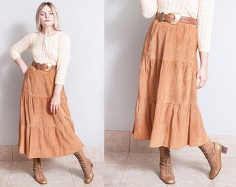 Vintage 1980's | SAKS FIFTH AVENUE | Brown | Soft Suede | Midi | Skirt | M