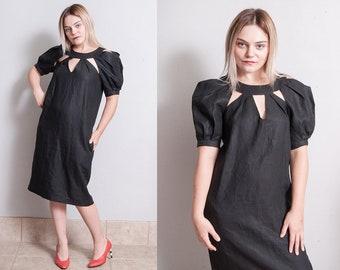 Vintage 1980's | Rare | ROBERTO FABRIS PARIS | Black | High Gloss | Linen | Puff Sleeve | Designer Vintage | Dress | M
