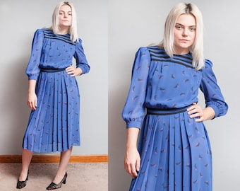 Vintage 1980's | Blue & Black | Striped | Secretary | Pleated Skirt | Dress | S