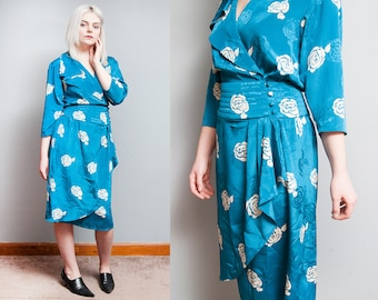 Vintage 1980's | Blue & White | Rose Pattern | Wrap | Dress | Cascades | S