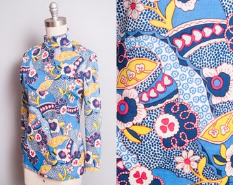 Vintage 1960's | Psychedelic | Floral Print | MOD | Pullover | Top | S