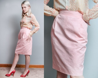 Vintage 1980's | Emanuel UNGARO | Pink | Pencil | Straight | Cotton | Skirt | Made in Italy | XS/S