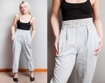 Vintage 1980's | Stone Wash | High Rise | Rhinestone | Studded | Pleated | Jeans | Denim | S/M