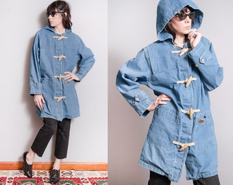 Vintage 1990's | Oversized | Denim | Toggle | Hooded | Lightweight | Jean | Unisex | Jacket | SML