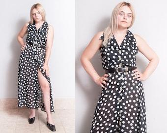 Vintage 1980's/1990's | Black & White | Polka Dot | Maxi | Dress | S