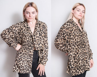 Vintage 1990's | OS | 100% Silk | Button Down | Leopard | Blouse | OS or SML