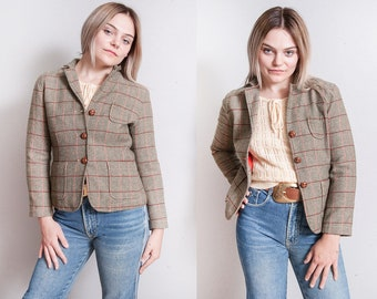 Vintage 1990's | Plaid | Gap | Fitted | Cropped | Wool | Blazer | Jacket | XS
