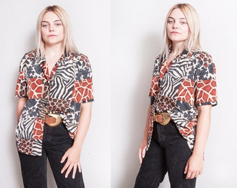 Vintage 1990's | Animal Print | Mixed Pattern | Button Down | Blouse | Top | S/M