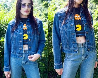 Vintage 1970's | Lee | Medium Wash | Cropped | Denim | Jean | Jacket | XS/S