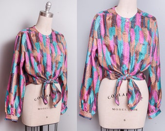 Vintage 1980's | Printed | Graphic | Colorful | Button Down | Blouse | Top | M/L