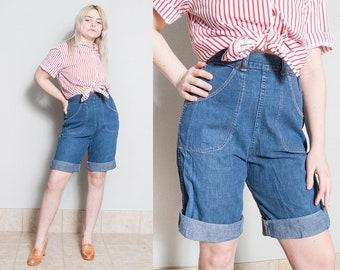 Vintage 1950's | Denim | High Waist | Workwear | Long | Shorts | Like New | Medium Wash | S