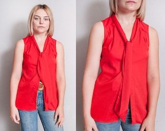 Vintage 1990's | ANNE KLEIN | Red | Ascot | Tie Collar | Sleeveless | Blouse | Top | XS/S